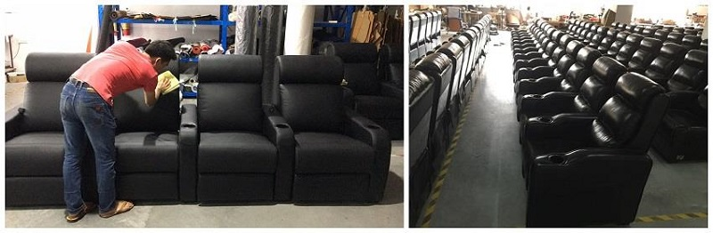 cleaning and packing of real leather theater seating