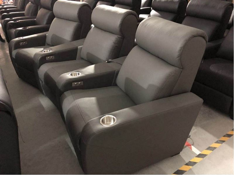 curved row theater chairs