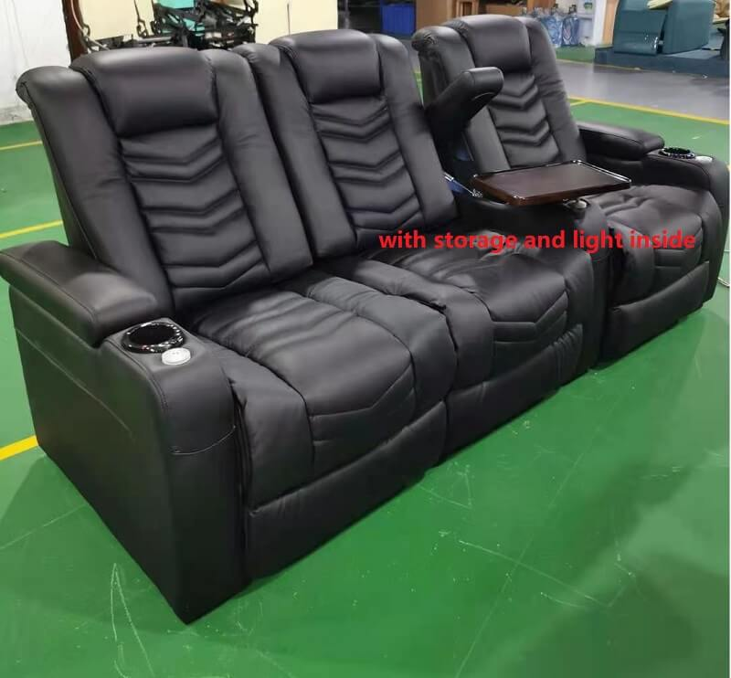 reclienr home theater seating with storage