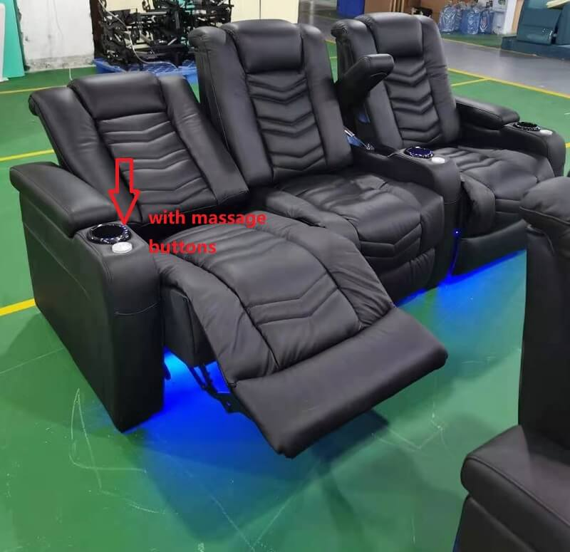 recliner home theater seating with massage