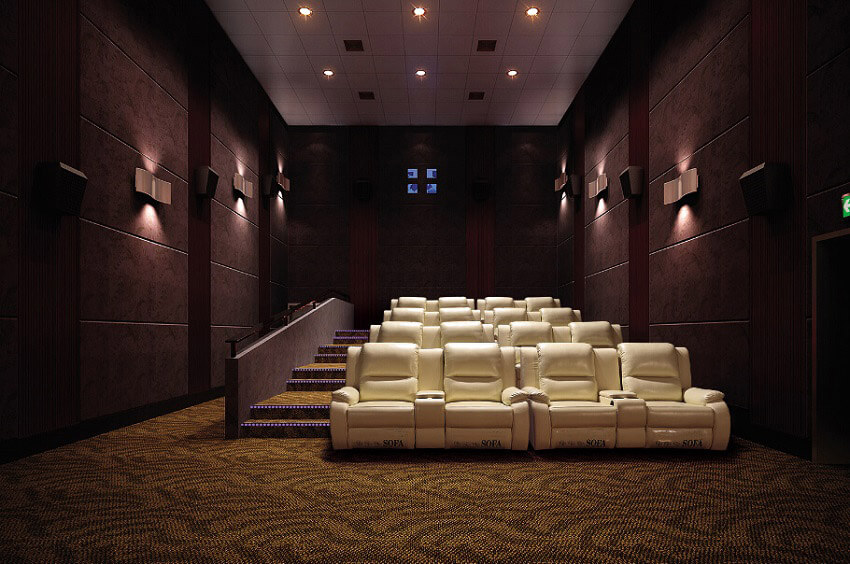 movie theater with recliner sofa