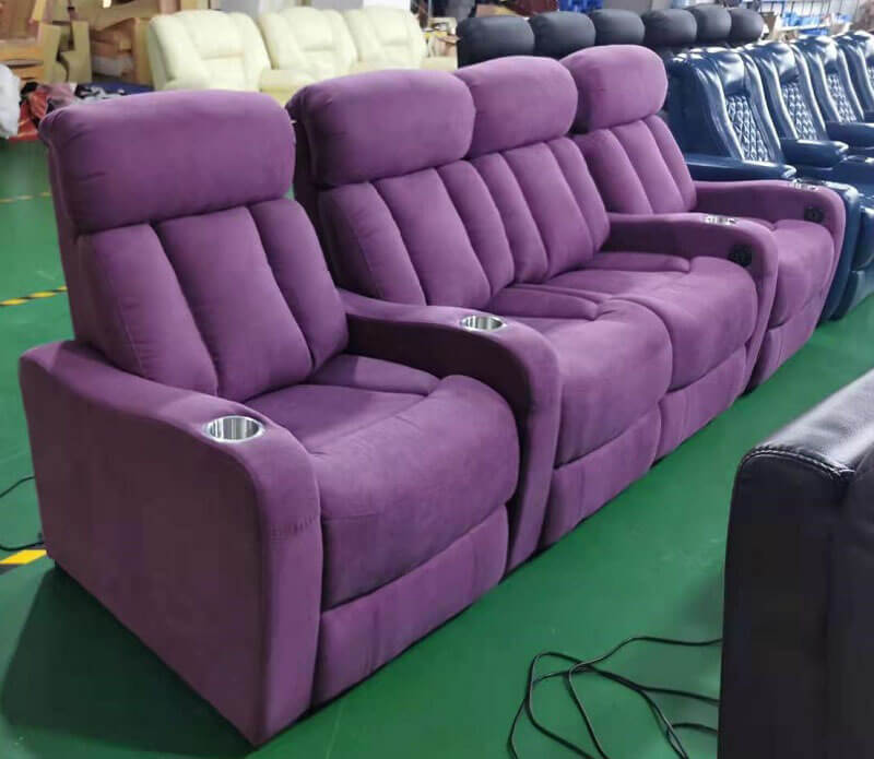 purple home theater seating