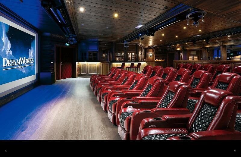 Movie theater with recliner chairs