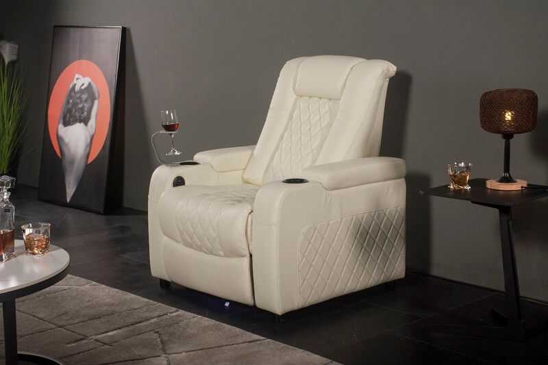 theater recliner with glass holder