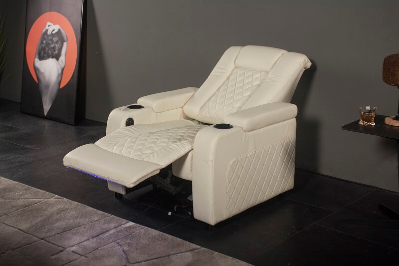white electric reclining theater chair