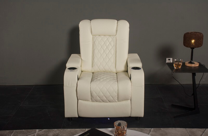 white reclining theater chair with storage
